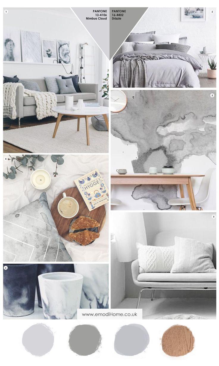 Grey and more grey interior inspiration mood board. A