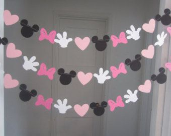 minnie mouse inspired paper garland banner decorations birthday clubhouse black white 2 shades of pink