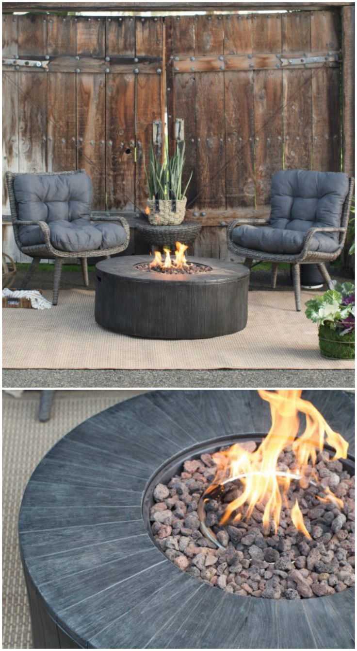 Cozy outdoor patio set outdoor living pinterest patios gas fire pits and gas fires - Types fire pits cozy outdoor spaces ...