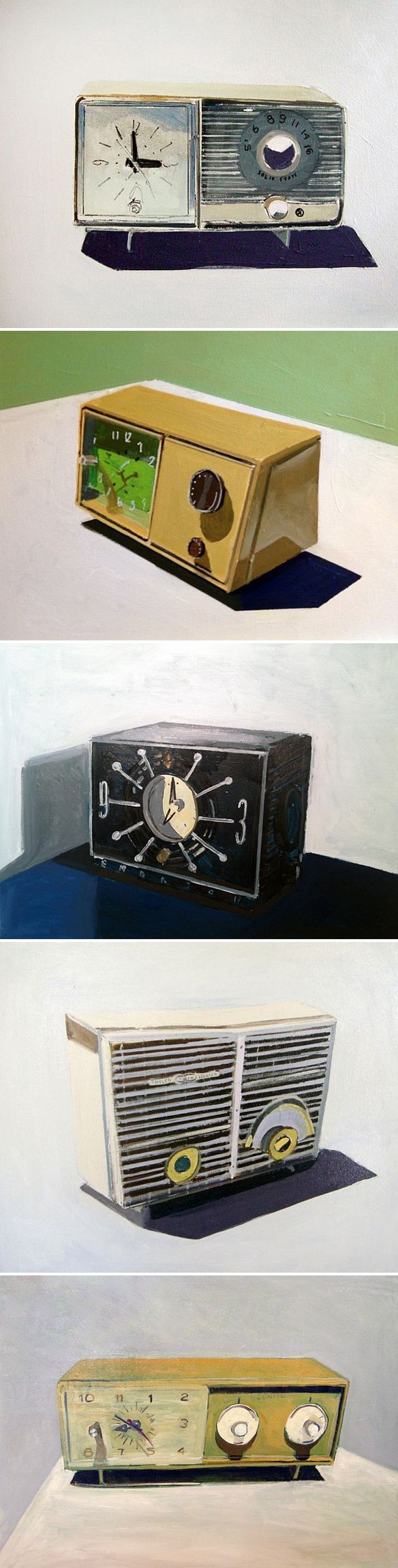 clocks, radios, and clock radios... paintings by jessica brilli