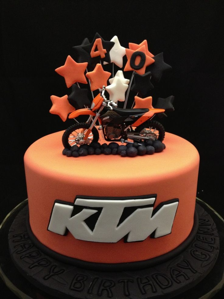 Ktm Motorbike Cake This choc orange mud cake was for a dirtbike enthusiast. The model bike was supplied by the client and the logo was hand...