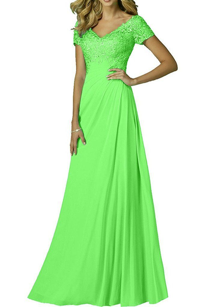 Charm Bridal Long Chiffon Lace Sequined Mother of the Bride Prom Dress V Neck -20W-Apple Green