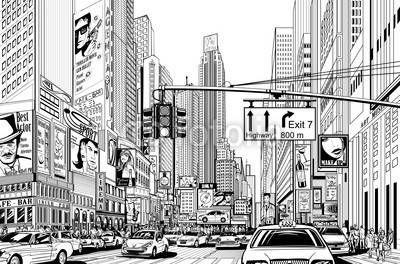 Fototapeta Nowy Jork, Panel szklany Nowy Jork, Fototapety Nowy Jork, Plexi Nowy Jork, nowy jork manhattan samochody znaki ulica reklamy ilustracja, 39334170