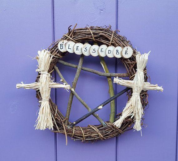 Pagan Wreath  Corn Dolly Wreath  Blessed Be by PurpleCrystalWitch