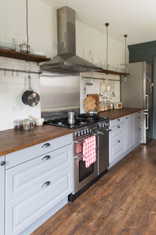 Grey kitchen, tiled walls, reclaimed worktop, pendant lighting www.trunkcreative.co.uk