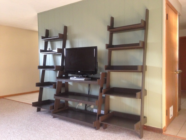 Metal Ladder Tv Stand Finally Finished My Leaning And Shelves