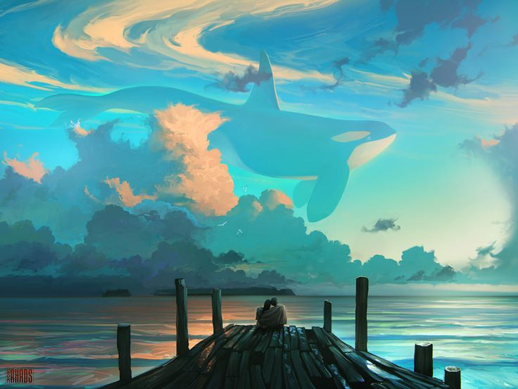 Sky For Dreamers - Dreamy Digital Paintings of Whales Flying Across the Sky by Artem Chebokha