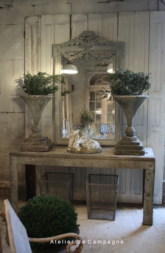 Industrial Table with Garden Vases