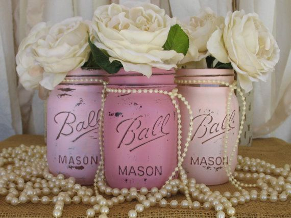 Set Of 3 Mason Jars Painted Mason Jars Pink by PaintedMasonJar, $24.00