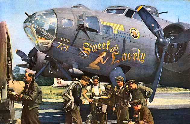 """B-17 """"Sweet and Lovely"""" nose art"""