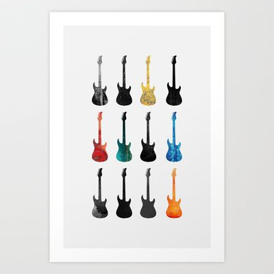 Guitar collection Art Print by Elisabeth Fredriksson - $18.00