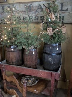 now this is a cool idea, little trees with lites in wooden planters