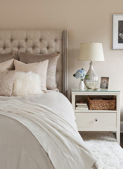 taupe and creams... mercury glass lamp... beaded throw pillow. Love this all I would do would be to paint the walls a saturated color like a peacock blue, emerald, or cobalt. #mbedroom