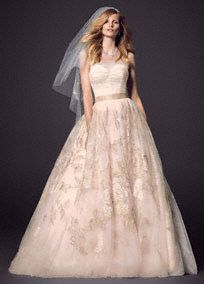 You will have a true fairytalemoment in this gorgeous veiled corset wedding dress with antique rose appliques!  Strapless veiled corset bodice creates a slim and defined waist while ensuring a perfect fit.  Tulle skirt features flawlessvintage-inspired antique rose applique detail for a unique and breathtaking look.  Sizes 0-14. Sweep train. Available in Whisper Pink.  Woman: Style 8CWG614. Sizes 16W-26W. ,350 (Special Order Only).  Fully lined. Back zip. Imported polyester. Dry ...