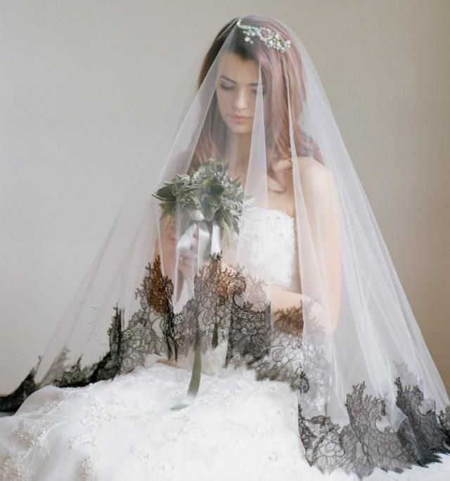 Bridal Veil, Black Lace Drop Veil, The DAUPHINE Chantilly Lace Cathedral Veil,Mantilla Veil, Black Lace Veil,Silk Tulle Veil, Cathedral Veil
