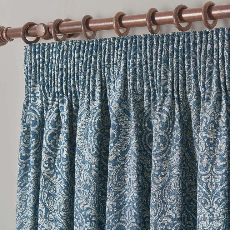 Dorma Odisha Blue Pencil Pleat Curtains | Dunelm