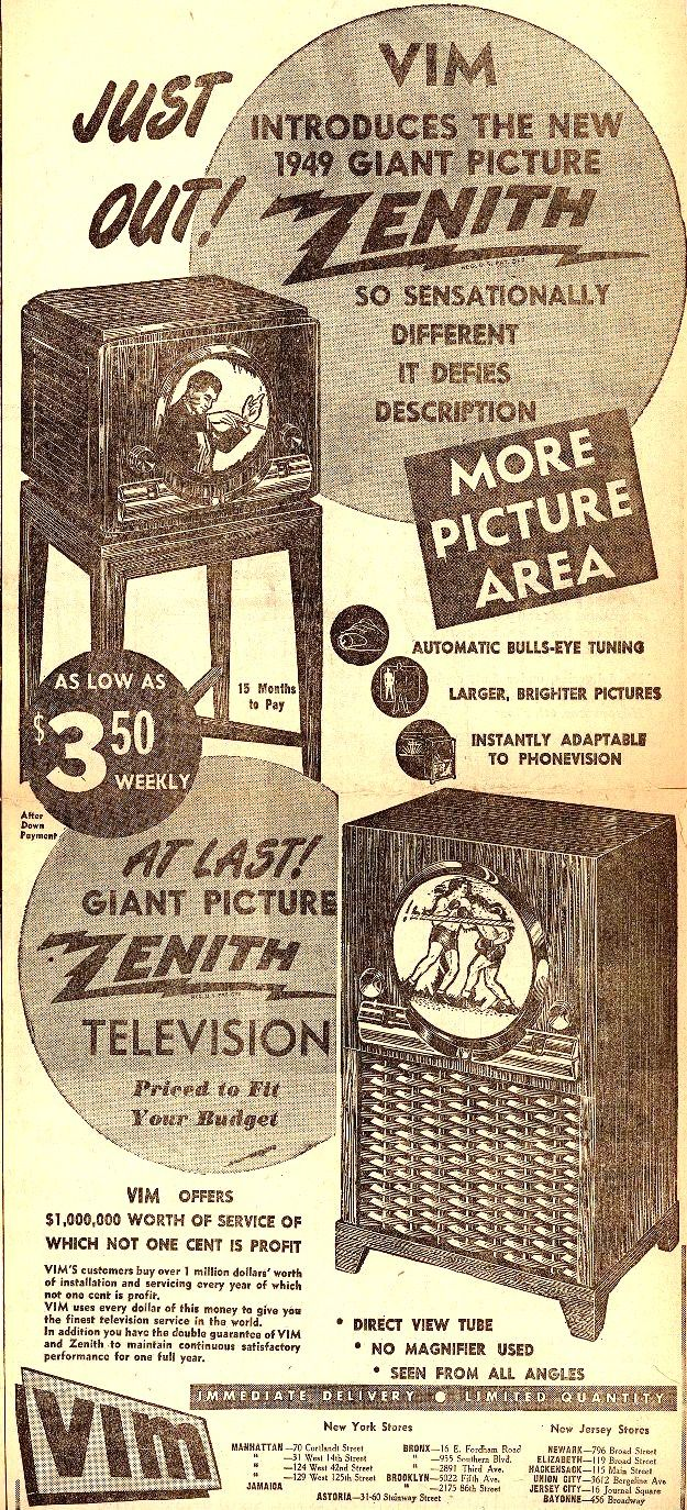 Vintage Zenith Radio Corporation Ad - 1949