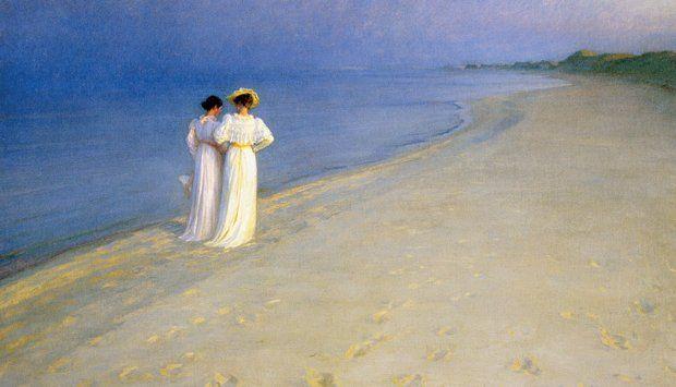 See it at the Skagen Museum in Skagen Museum: my favorite museum ever.  Summer Evening on the Skagen Southern Beach, P.S. Krøyer, 1893