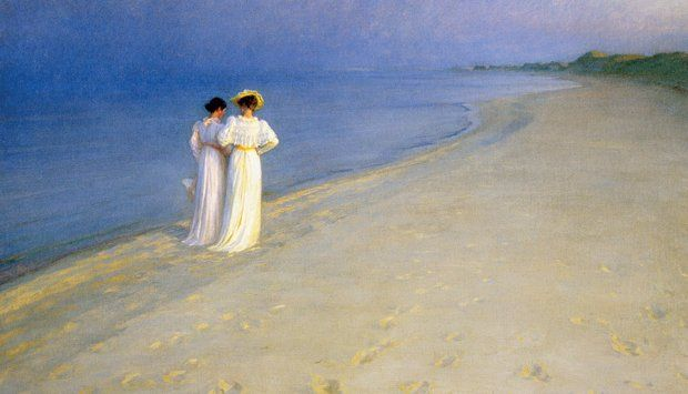 See it at the Skagen Museum in Skagen Museum: my favorite museum ever.  Summer Evening on the Skagen Southern Beach, P.S. Krøyer, 1893