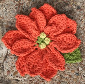 Crochet Flowers: Poinsettia: Lion Brand Yarn.  Would make a nice seasonal pin for a winter coat or scarf.