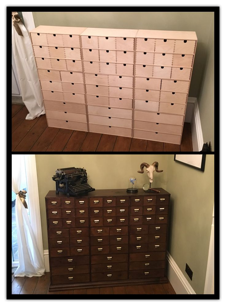 IKEA hack! Before and after , apothecary drawers