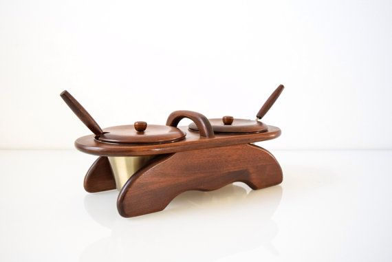 SALE condiment server Danish modern condiment set by littlecows
