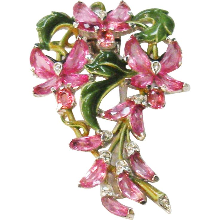 Magnificent CROWN TRIFARI 1942 Pink Demi Lune Clip Brooch with Green Enamel