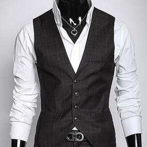 Mens Slim Fit Casual Dress Checked Plaid Formal Vests Mens Suits Vest Black M | eBay