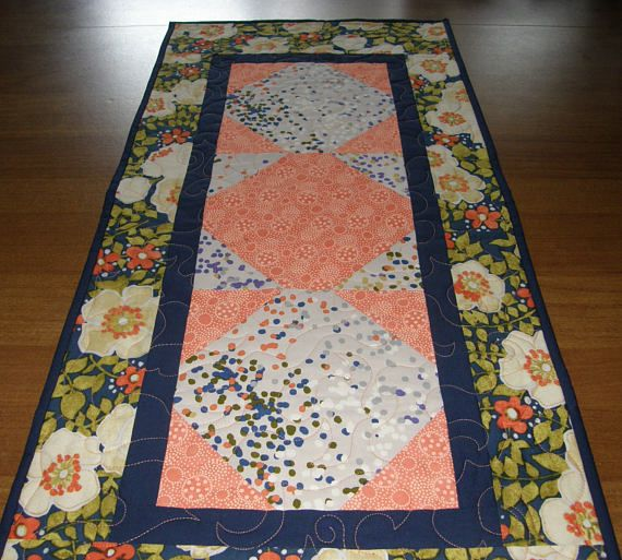 Quilted Table Runner Navy Blue and Peach Table Runner