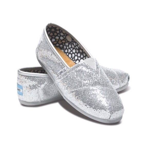 toms classic canvas shoes silver glitter toms canvases