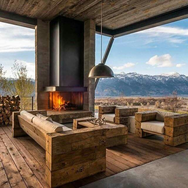 Use Old 6x6 Barn Beams For Furniture Fireplace Design