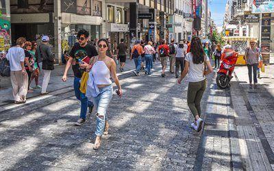 壁紙をダウンロードする 通り, 通行人, 晴れた日, アテネ, ギリシャ