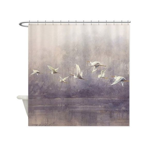Egrets White Bird Art Shower Curtain Painting By Master Artist T C Chiu Silver Grey White