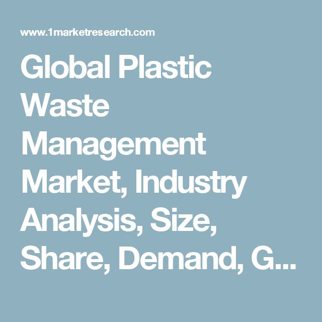Global Plastic Waste Management Market, Industry Analysis, Size, Share, Demand, Growth, Trends and Forecast to 2022