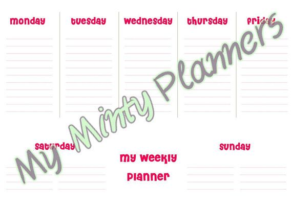 WEEKLY PLANNER A4  Simple One Page Planner in by MyMintyPlanners