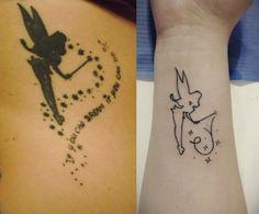 """idées tatouages inspirés du personnage de la fée Clochette du film """"Peter Pan"""""""
