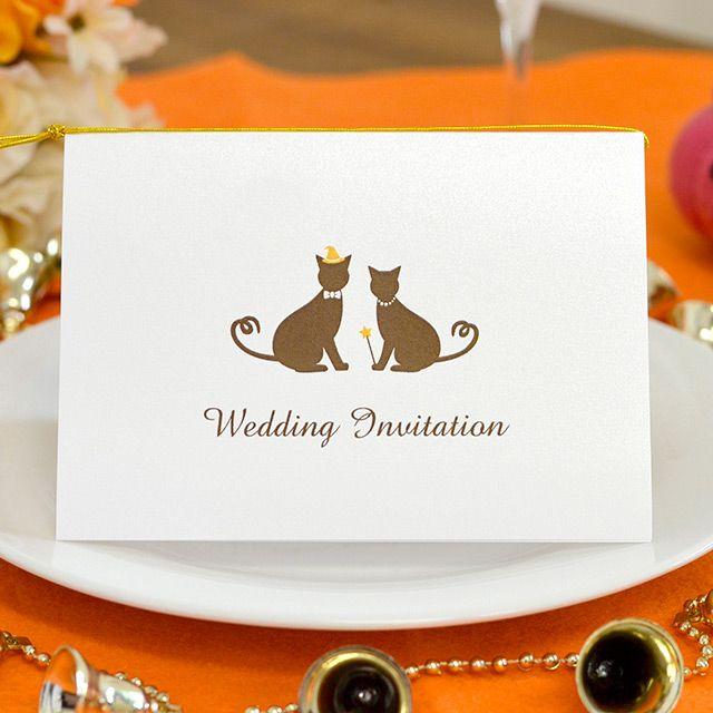 手作り【招待状キット】ねこ・ハロウィン(1名様分) ハロウィン限定!猫がお好きなお二人にぴったりの手作り招待状キット。 大切なあの人へ、お二人らしい招待状を送りましょう♪ ペットと一緒の結婚式にもピッタリ★