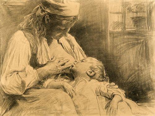 Motherhood, by Wincenty Wodzinowski (1866 – 1940, Polish)