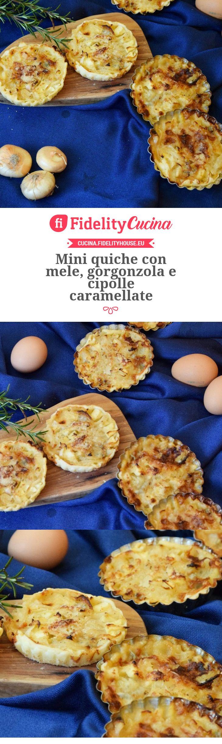 Mini quiche con mele, gorgonzola e cipolle caramellate