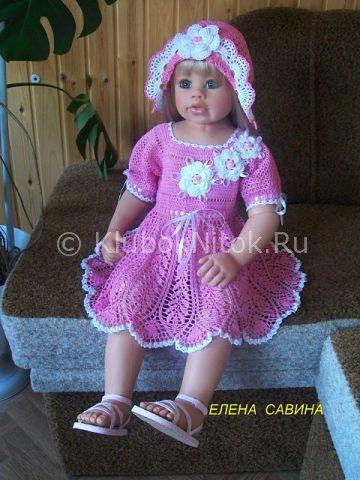 Платье с розами   Вязание для девочек   Вязание спицами и крючком. Схемы вязания.