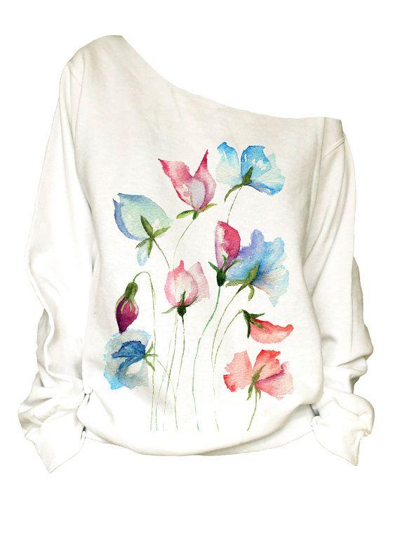 Stampa off spalla slouchy oversize sfrangiatura Sweatshirt(6-20)