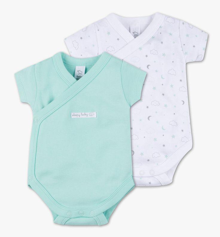 2er Pack Baby-Wickelbodies in mintgrün