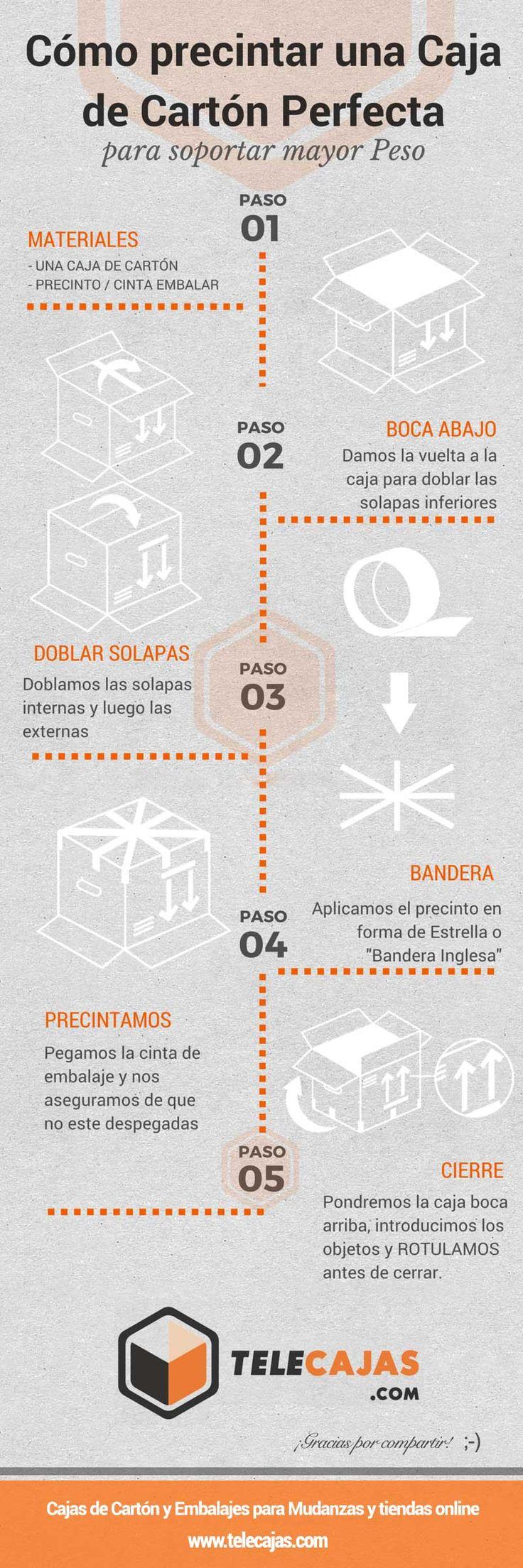 Como precintar una caja de cartón para soportar mas peso #telecajas #cajasdecarton