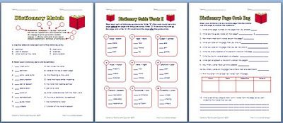 Free dictionary worksheets.  Parts of the dictionary, guide words, and practice
