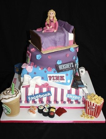 How fab is this cake from Natalie's Creative Cakes?  I don't think she could cram anymore interests into this amazing creation!