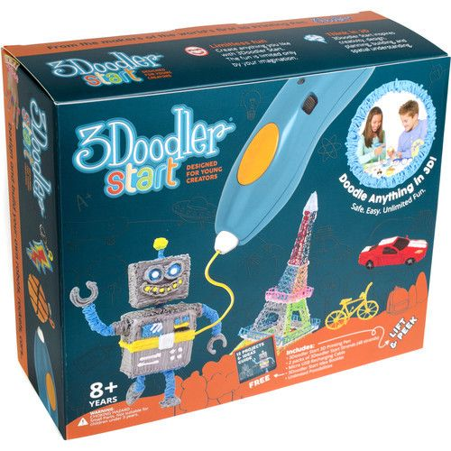 The 3Doodler Start Essentials Pen Set is designed for young creators and contains everything you need to start 3D printing. It comes with a 3Doodler Start 3D Printing Pen, two packs of 3Doodler Start