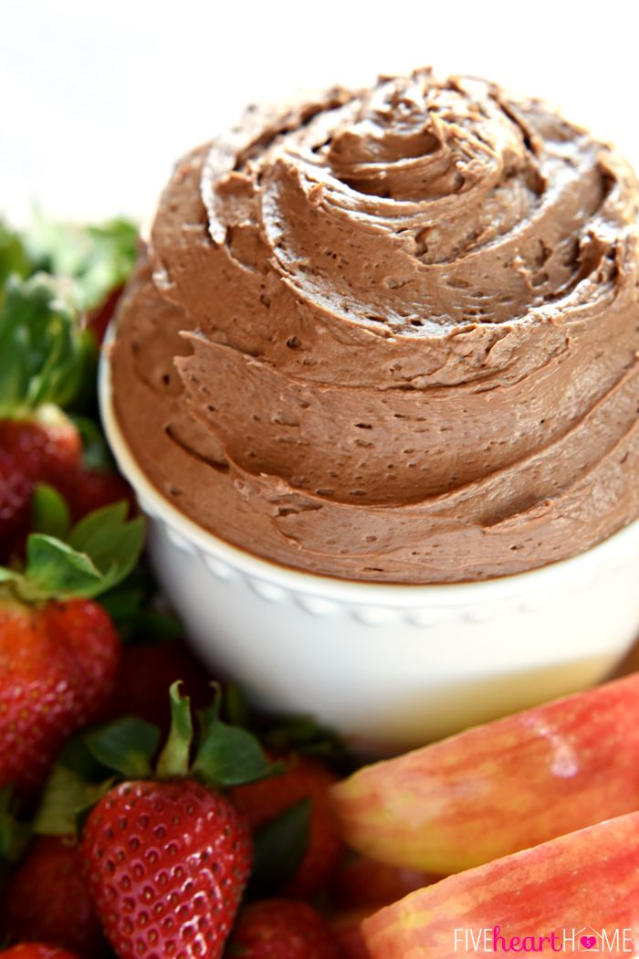 Fluffy Chocolate Fruit Dip ~ made with cream cheese, melted chocolate, and real whipped cream, this dessert tastes just like dipping fresh fruit into chocolate cheesecake!   FiveHeartHome.com
