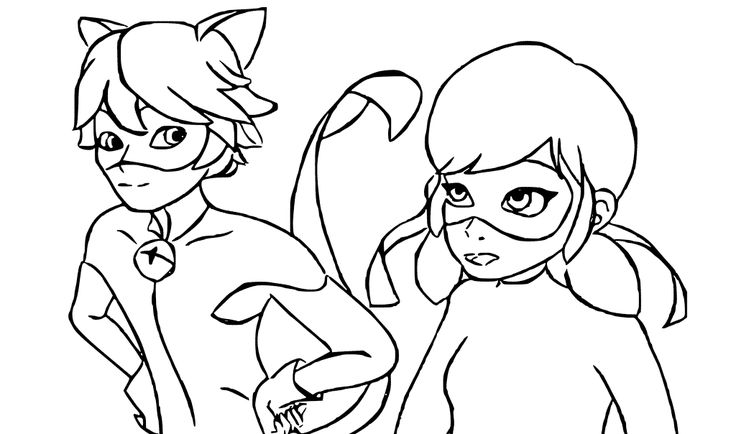 Ladybug And Cat Noir Are Talking coloring page ...