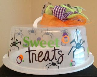Personalized Cake Carrier - Halloween Spider Cake Carrier - TDY Designs