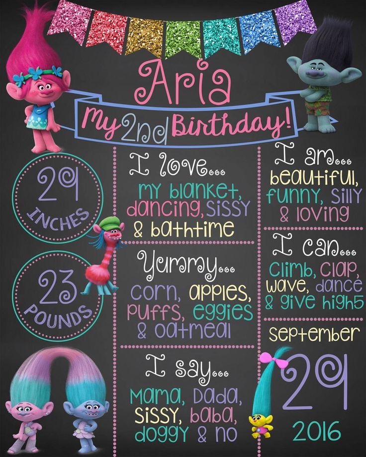 Trolls Chalkboard, First Birthday Chalkboard, Printable Chalkboard, Trolls by mommydesign2026 on Etsy https://www.etsy.com/listing/518287755/trolls-chalkboard-first-birthday